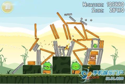 Symbian^3版本的《Angry Bird》游戏